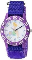 Disney Girl's 'Tinker Bell' Quartz Plastic and Nylon Casual Watch, Color:Purple (Model: WDS000107)