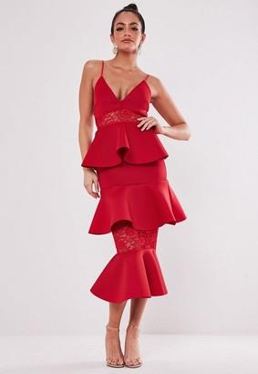Missguided Lace Panel Scuba Tie Midi Dress