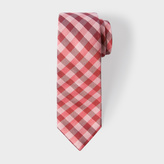 Paul Smith Men's Black, Pink And Red Gingham Narrow Silk Tie