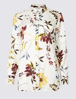 Classic Floral Print Satin Long Sleeve Shirt