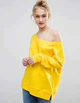 Asos Sweatshirt In Off Shoulder Boxy Fit