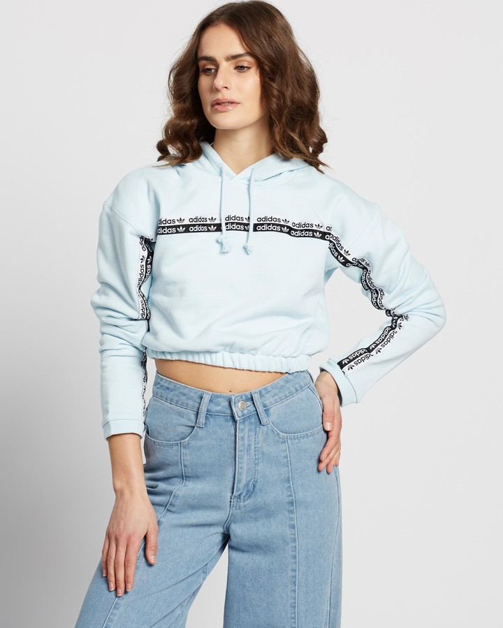 adidas Women's Blue Hoodies - Cropped Hoodie - Size 6 at The Iconic