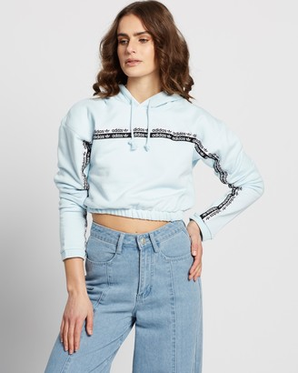 adidas Women's Blue Hoodies - Cropped Hoodie - Size 10 at The Iconic