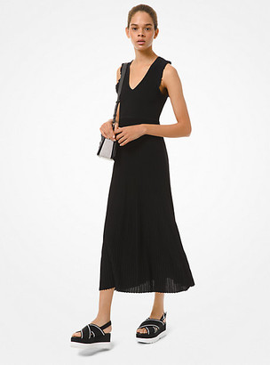 Michael Kors Ribbed Stretch Viscose Ruffle-Trim Dress