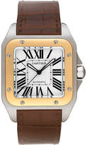 Cartier Santos 100 18ct yellow-gold stainless steel and leather watch
