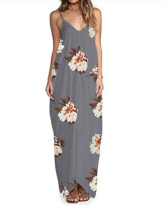 Zanzea Womens Sexy Casual Loose Hippie Boho Backless Sleeveless V Neck Back Zipper Maxi Beach Dress