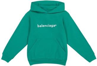 Balenciaga Kids Logo cotton jersey hoodie