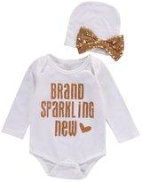 Ma&Baby 2Pcs Sequins Newborn Baby Girls Bodysuit Romper Jumpsuit +Hat Outfit Clothes (0-3 Months, )
