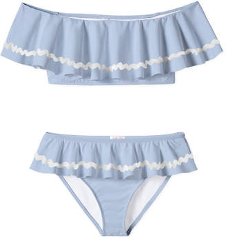 Stella Cove Girl's Ric Rac Ruffle Two-Piece Bikini Set, Size 4-14