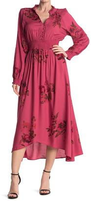 Nostalgia Apparel Floral Long Sleeve Smocked Waist Maxi Dress