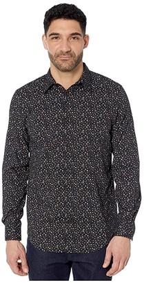 Perry Ellis Floral Print Stretch Long Sleeve Button-Down Shirt (Black) Men's Clothing