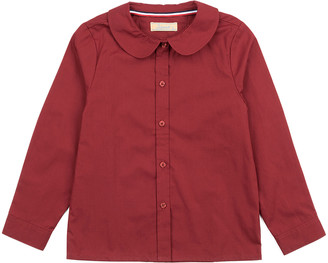 Leveret Girls' Button Down Shirts Maroon - Maroon Peter Pan-Collar Button-Up Top - Toddler & Girls
