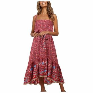 Moent Women Clothes Moent Women Casual Floral Print V-Neck Sleeveless Camisole Boho Maxi Dress