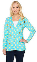 As Is Quacker Factory Polka Dot and Sequin V-Neck Cardigan