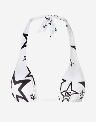 Dolce & Gabbana Triangle Millennials Star Print Padded Bikini Top