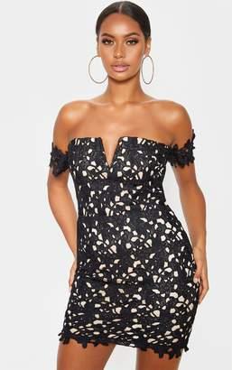 PrettyLittleThing Black Lace Bardot V Bar Bodycon Dress