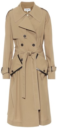 Loewe Leather-trimmed cotton trench coat