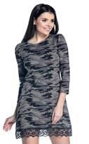 Zeta Ville Fashion Zeta Ville - Womens shift dress lace hem pattern 3/4 sleeves - 210z (