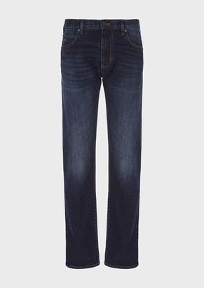 Emporio Armani Regular Fit J45 Jeans In Stone Washed Denim
