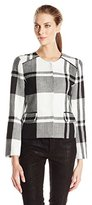 Vince Camuto Women's Basket Weave Plaid Collarless Crop Jacket