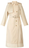 Bottega Veneta Contrast-panel Belted Trench Coat - Womens - Ivory