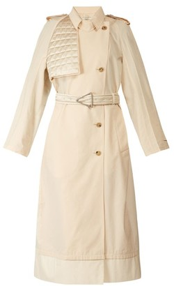 Bottega Veneta Contrast-panel Belted Trench Coat - Womens - Ivory