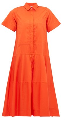 Lee Mathews - Elsie Tiered Cotton Blend Poplin Shirt Dress - Womens - Orange