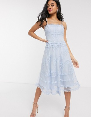 Love Triangle bandeau skater midi dress with scallop detail in blue