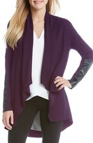 Karen Kane Women's Faux Leather Trim Drape Front Knit Jacket