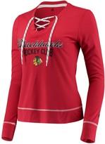 adidas Women's Heathered Red Chicago Blackhawks Skate Through Long Sleeve Lace-Up V-Neck T-Shirt