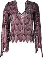 Marco De Vincenzo feather shaped cut blouse - women - Polyester/Viscose - 42