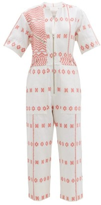 Pippa Embroidered Striped Cotton Jumpsuit - Pink Print