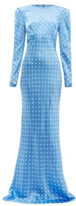 Alessandra Rich Polka Dot Silk Maxi Dress - Womens - Blue White