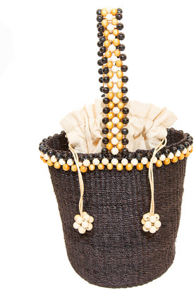 Rafe Kat Wood Bead Handle Straw Bag