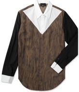 3.1 Phillip Lim Redwood Combo Panel L/S Button Up Shirt