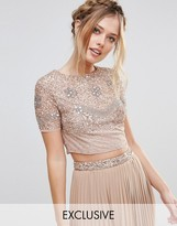 Maya Cap Sleeve Crop Top With Floral Embellishment