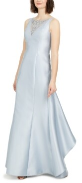 Adrianna Papell Embellished Ruffle-Back Gown