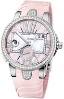 Ulysse Nardin Executive Dual Time Lady Pink Mother Of Pearl Dial Rubber Strap Automatic Ladies Watch