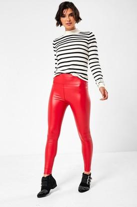 iClothing Hana High Waist Fleece Lined Wet Look Leggings in Red