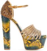 Elie Saab embellished snake print platform sandals