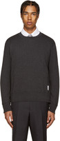 Thom Browne Grey Ribbed Pullover