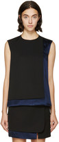 Paco Rabanne Black and Navy Satin Panel Top