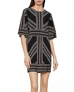 BCBGMAXAZRIA Geometric Striped Shift Dress