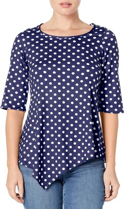 Star Vixen Women's Petite Elbow Sleeve Hanky Hem Tunic