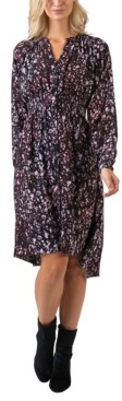 Belldini Black Label Women's Plus Size Printed High-Low Button Front Long Sleeve Dress