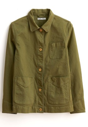 Alex Mill Cotton Herringbone Workers Jacket in Army Olive