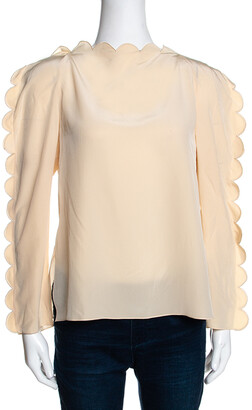 Fendi Cream Silk Scalloped Long Sleeve Blouse S