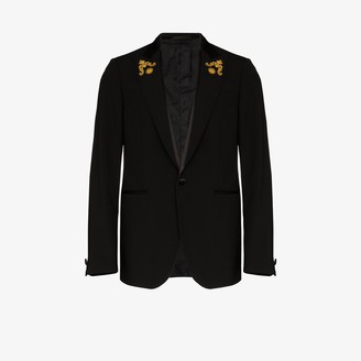Versace Baroque lapel virgin wool single-breasted blazer