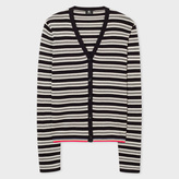 Paul Smith Women's Black And White Striped Cotton Cardigan