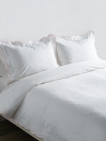 Melange Home Double Scallop Embroidered Cotton Percale Duvet Set